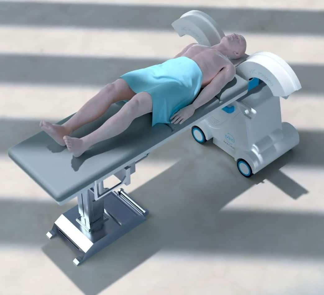 Portable Head and Extremities CT-Scanner with retractable Gantry